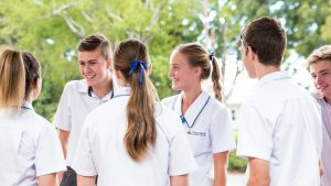 Concordia Lutheran College senior students talking together