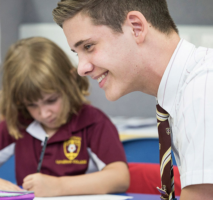 K-12 in Lutheran schools- Female prep student and senior male student