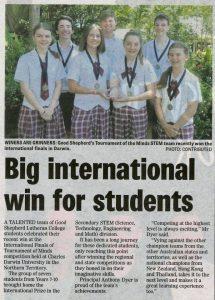 GSLC wins an international Tournament of the Minds award!